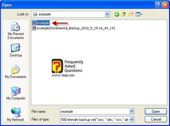 בחירה בכונן לשיחזור ,BitDefender Total Security 2010