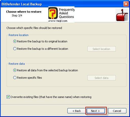 בחירה בקובץ שיחזור ,BitDefender Total Security 2010