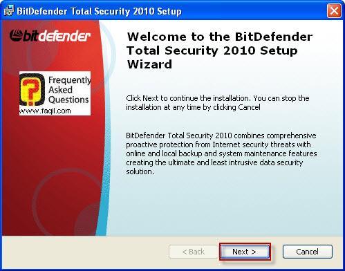 מסך ברוכים הבאים להתקנה,BitDefender Total Security 2010