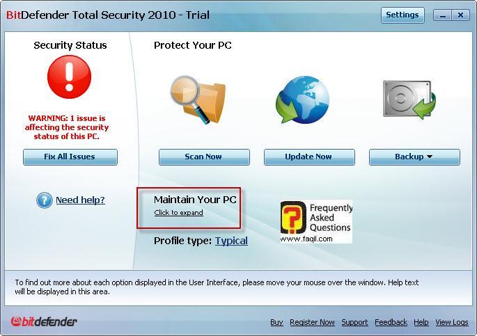 בחירה מה יפעל ברקע,BitDefender Total Security 2010