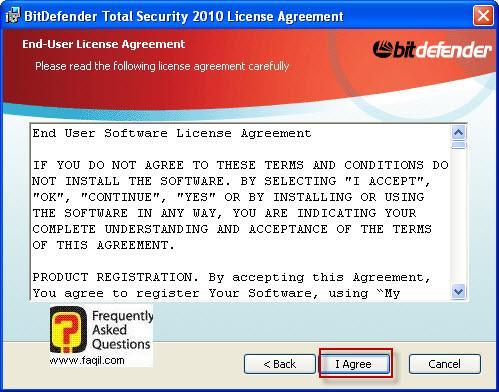 מסך הסכם הרישיון להתקנה,BitDefender Total Security 2010