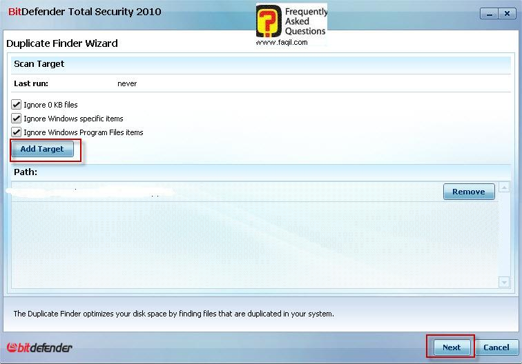 בחירה בDuplicate finder ,BitDefender Total Security 2010