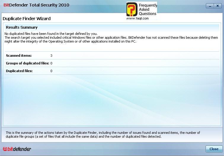 בודק שכפול קבצים,BitDefender Total Security 2010