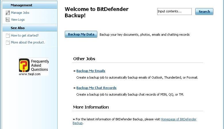 הגדרות גיבוי אימייל וצט,BitDefender Total Security 2010