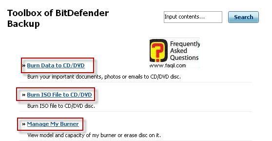 אפשרויות צריבה ,BitDefender Total Security 2010