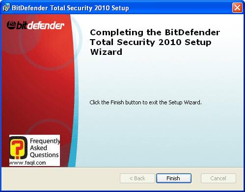 סיום ההתקנה,BitDefender Total Security 2010