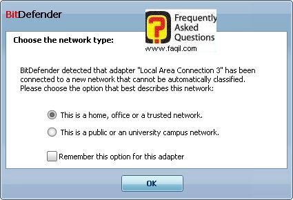 בחירת סוג חיבור,BitDefender Total Security 2010