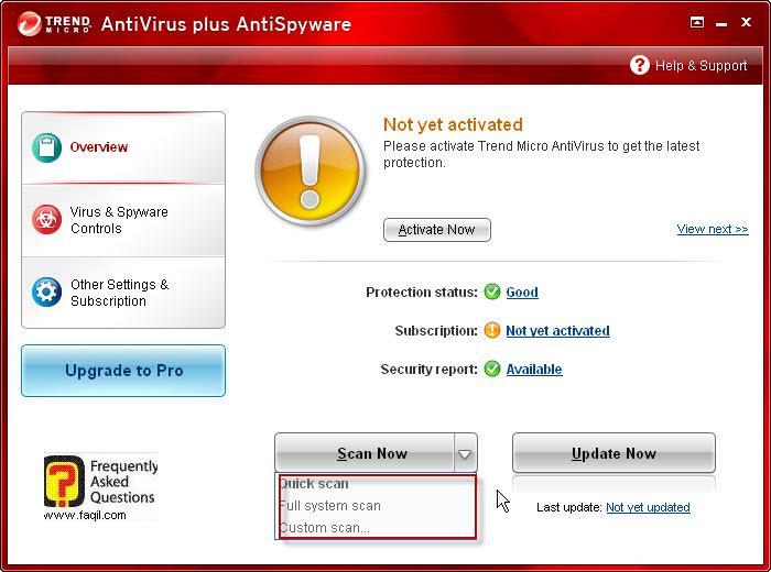 בחירה ב-Scan now , TrendMicro AntiVirus plus AntiSpyware 2010