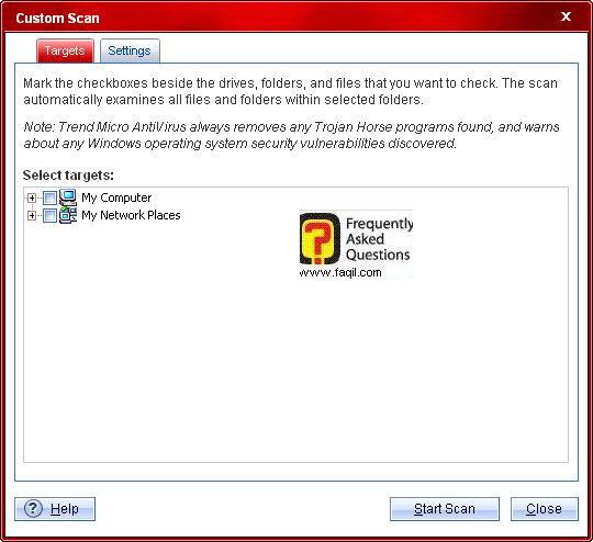 סריקה מותאמת אישית, TrendMicro AntiVirus plus AntiSpyware 2010