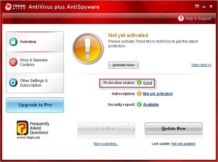 מסך ראשי-לאחר סריקה טוב, TrendMicro AntiVirus plus AntiSpyware 2010
