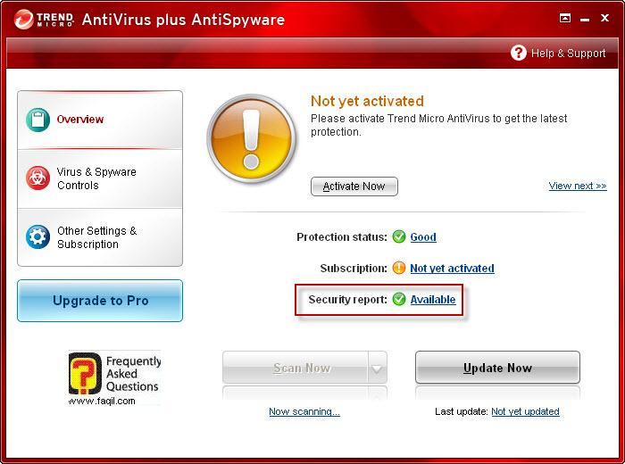 דוח אבטחה-זמין, TrendMicro AntiVirus plus AntiSpyware 2010