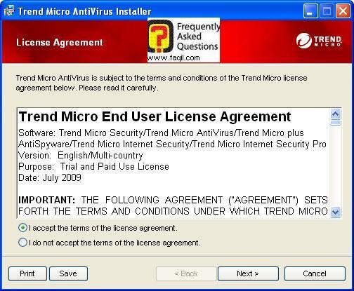מסך הסכם הרישיון לשימוש, TrendMicro AntiVirus plus AntiSpyware 2010