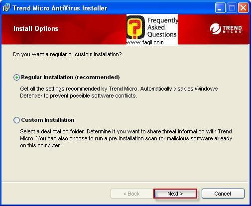 סוג ההתקנה-רגילה, TrendMicro AntiVirus plus AntiSpyware 2010