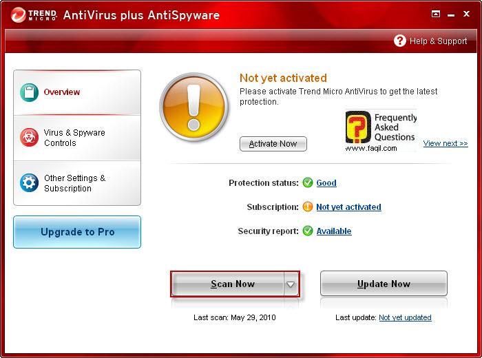 מסך ראשי , TrendMicro AntiVirus plus AntiSpyware 2010