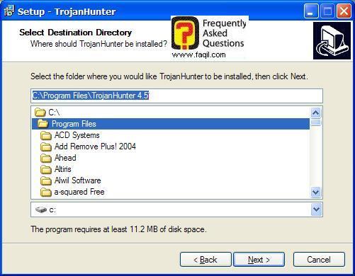 מסך מיקום היעד  להתקנה,תוכנת TrojanHunter 4.5