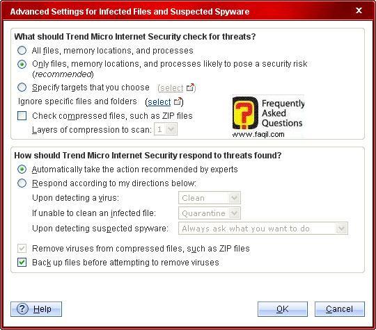 הגדרות מתקדמות,Trend Micro Internet Security 2010