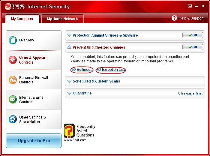 מניעת שינוים בלתי מורשים,Trend Micro Internet Security 2010