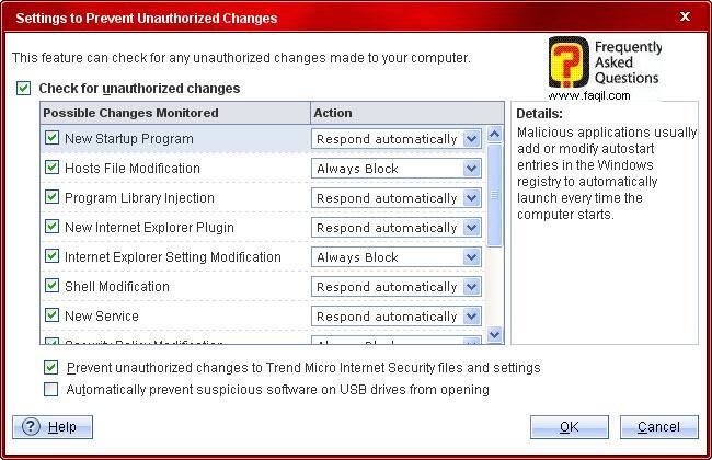 בחירת ההגדרות המתאימות,Trend Micro Internet Security 2010