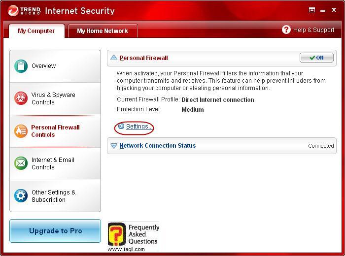 הגעה להגדרות חומת אש,Trend Micro Internet Security 2010