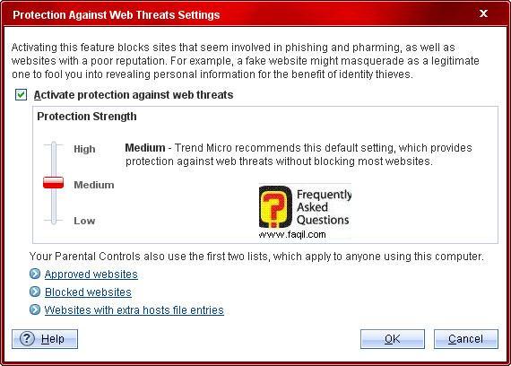 הגדרה ברירת מחדל-בינוני ,Trend Micro Internet Security 2010