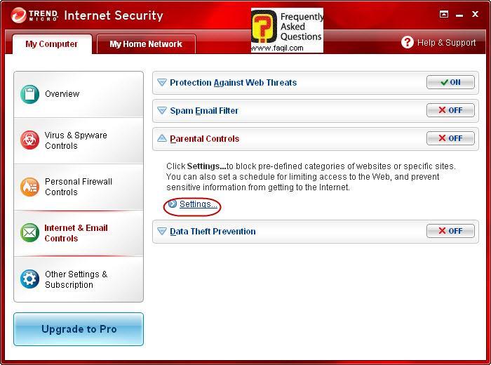 הגעה הגדרות בקרת הורים,Trend Micro Internet Security 2010