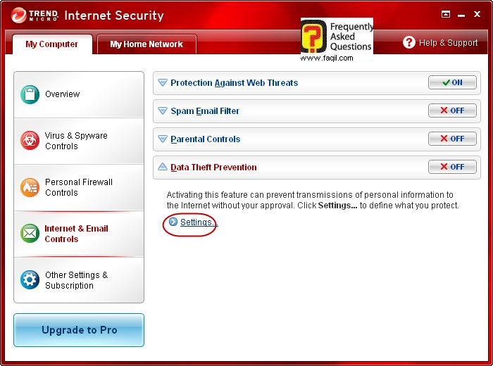 הגעה להגדרות מניעת גניבת מידע,Trend Micro Internet Security 2010