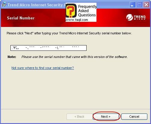 יש להקיש את הקוד הסיריאלי שקיבלתם ,Trend Micro Internet Security 2010