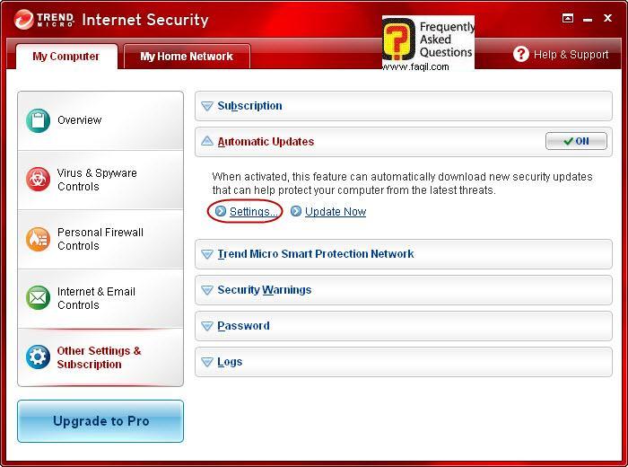 הגעה להגדרות  עדכונים אוטומטית,Trend Micro Internet Security 2010