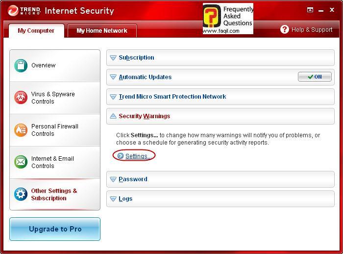 הגעה להתראות אבטחה ,Trend Micro Internet Security 2010
