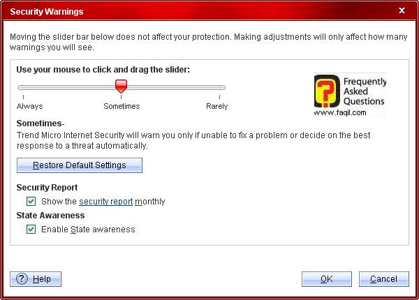 התראות יופיעו לפעמים,Trend Micro Internet Security 2010