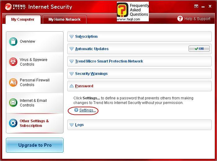הגדרת סיסמא לאנטיוירוס+חומת אש ,Trend Micro Internet Security 2010