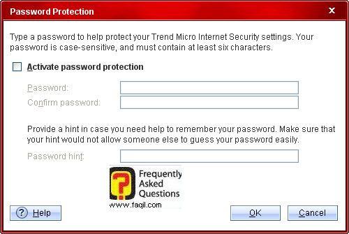 בחירת סיסמא, והקשה חוזרת על הסיסמא,Trend Micro Internet Security 2010