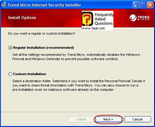 בחרו סוג התקנה רגילה ,Trend Micro Internet Security 2010