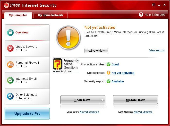 מסך ראשי ,Trend Micro Internet Security 2010