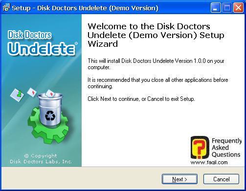 מסך ברוכים להתקנה,תוכנת  Disk Doctor Undelete