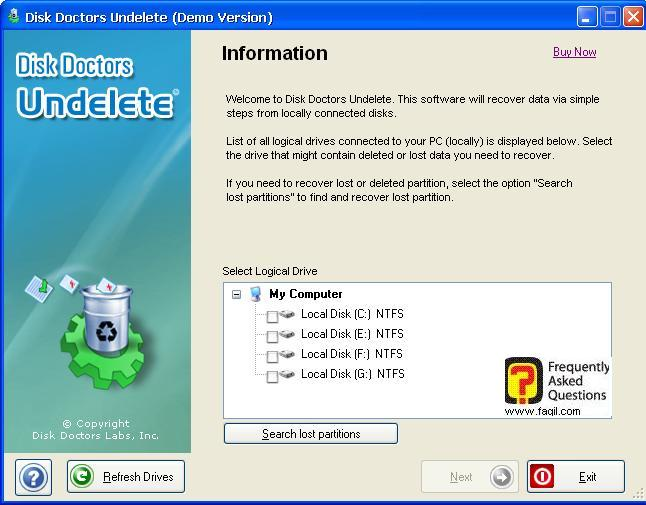 בחירת הכונן הרצוי לשחזור,תוכנת  Disk Doctor Undelete