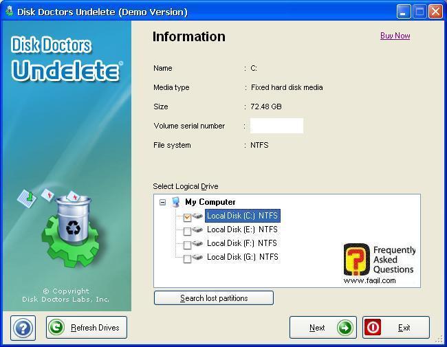 שחזור הקבצים מהכונן,תוכנת  Disk Doctor Undelete