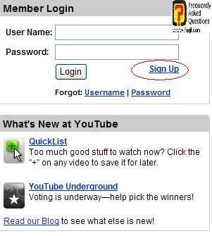בחרו ב-Sign  up,אתר יוטיוב (YouTube)