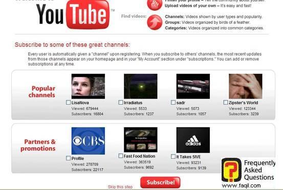 בחירת ערוצים פופולארים ושותפים,אתר יוטיוב (YouTube)
