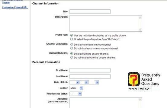 פרטים על ערוץ הוידאו האישי שלכם,אתר יוטיוב (YouTube)