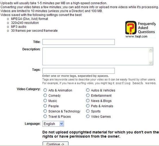 בחירת קטגוריה לסרטון,אתר יוטיוב (YouTube)