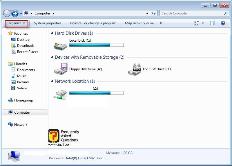 ארגון, במחשב שלי