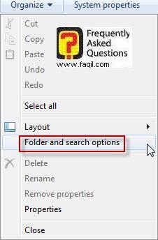 אפשרויות תיקיה וחיפוש,בחלונות 7