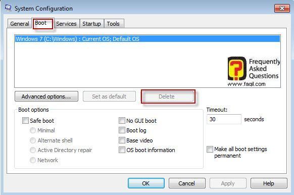 ביטול הרמטי של אפשרות בחירת מערכת הפעלה בלשונית boot