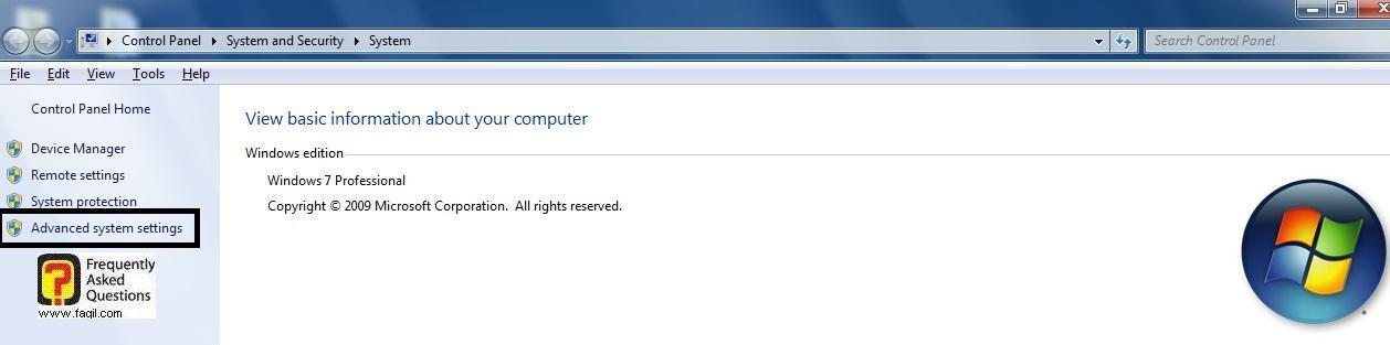 בחירה בadvanced system settings, בחלונות 7