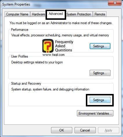 בחירה ב settings, בחלונות 7