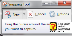 כלי תצלומי המסך snipping נפתח בחלונות 7