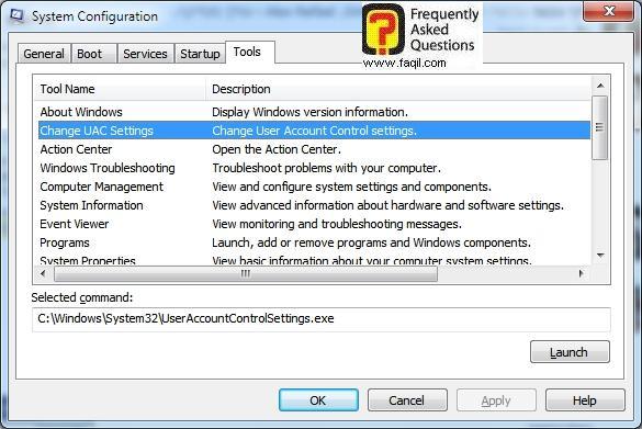 בחירה ב-בChange Uac Setting