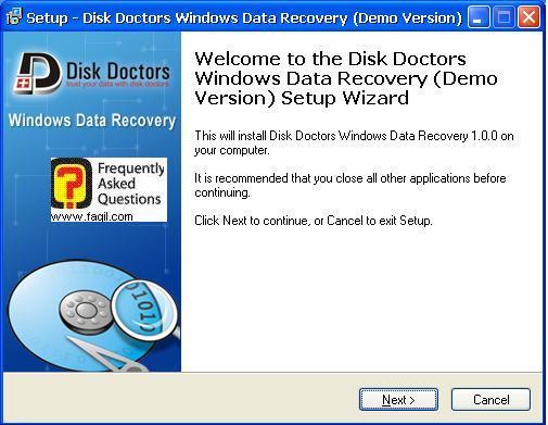 מסך ברוכים הבאים להתקנה,תוכנת  Disk Doctors Windows Data Recovery (FAT)