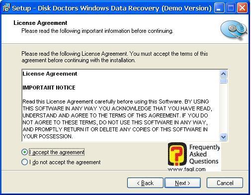 הסכמה לתנאי הרישיון,תוכנת  Disk Doctors Windows Data Recovery (FAT)